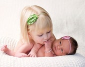 FREE SHIPPING Flower Headband, Baby Girl Photo prop, Hand Crocheted, Choose Pink or Green, Image by Tamra Hyde