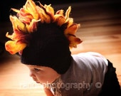 FREE SHIPPING Mohawk Baby Hat Photo Prop, Super Cool Beanie with earflaps in Black with Orange and Red Flames and Cute Tiny Skull Decal, images by Randi Kampeter