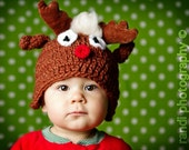 SALE 3-6 mo Baby Hat, Toddler Photo Prop, Rudolph the Red-nosed Reindeer, Crochet Knit Newborn Hat, Photo Prop