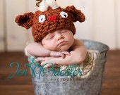 Baby Hat, Rudolph the Red-nosed Reindeer Newborn Baby Hat, Newborn Hat, Baby Photo Prop, Newborn Photo Prop, Photography Prop