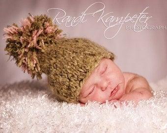SALE Newborn Baby Hat, Baby Photo Prop, Newborn Knit Hat, Hand Knit Baby Hat, Pom Pom Hat