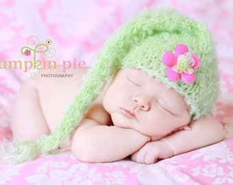 Baby Hat, Knit Baby Hat, Stoking Baby Hat, Newborn Baby Hat Photo Prop, Baby Photo Prop