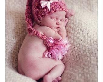 Baby Hat, Newborn Hat, Knit Baby Hat, Baby Photo Prop, Newborn Photo Prop, Baby Girl Hat, Stocking Newborn Baby Hat, Pink Baby Hat