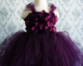 Flower girl dress Deep Purple tutu dress, flower top, hydrangea top, toddler tutu dress