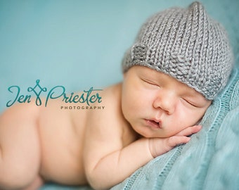 SALE Baby Hat, Newborn Baby Hat, Baby Photo Prop, Knit Newborn Hat, Gray Baby Hat, Baby Photo Prop