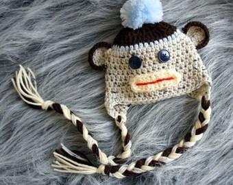Baby Hat, Sock Monkey Baby Hat, Newborn Knit Hat, Baby Photo Prop, Knit Baby Hat, Baby boy hat, Photography Prop