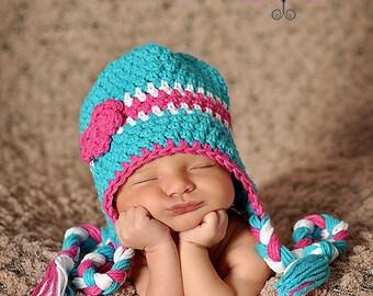 Baby Hat, Newborn Hat, Baby Beanie, Baby Cotton Hat, Turquoise Beanie, Baby Photo Prop, Knit Baby Hat