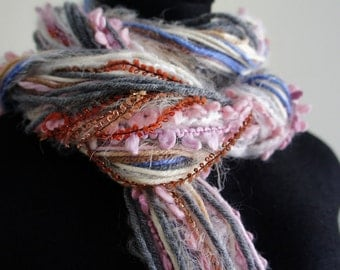 Fringe Scarf, Knotted scarf, Soft Pinks and Gray