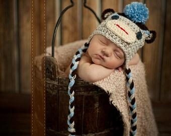 Baby Hat, Sock Monkey, Newborn Baby Hat, Baby Photo Prop, Knit Baby Hat, Baby boy hat, Photography Prop