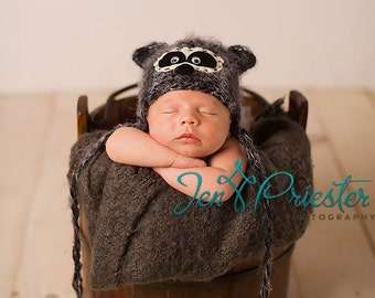 Baby Hat, Raccoon hat, Baby Photo Prop, Knit Newborn Hat, Baby Hat, Animal Hat, Photo Prop, Newborn Photography Prop