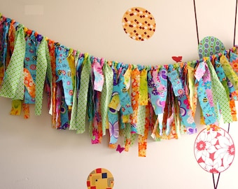 SALE 20%OFF Super bright and Cheerful Fabric Banner, Fringe Garland,  Photo Prop or Decore