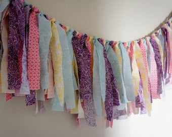 SALE 20%OFF Wedding Decor, Wedding Banner, Pastel Pink and Aqua Fabric Banner, Fringe Garland,  Photo Prop or Decore