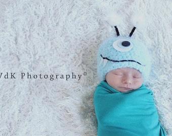 Baby Hat, Monster Hat, Blue Monster Newborn Baby Hat, Baby Photo Prop, Newborn Baby Hat, Photography Prop