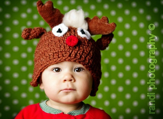 Red Nose Reindeer Baby Hat, Baby Photo Prop, Newborn Photo Prop, Knit Baby Hat, Photography Prop