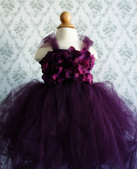 Flower girl dress Deep Purple tutu dress, flower top, hydrangea top, toddler tutu dress