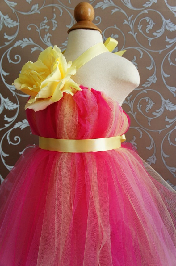 Flower Girl Tutu Dress, Beautiful Shades of  Hot Pink and Yellow, with Delicate Oversized Rose, tutu dress, flower top, toddler tutu dress