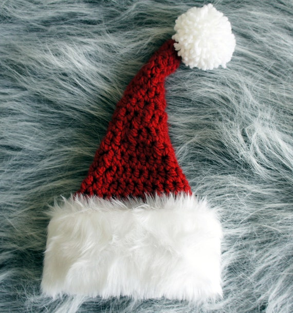 Santa Baby  Stocking Hat, Newborn Hat, Knit Photo Prop in White and Red