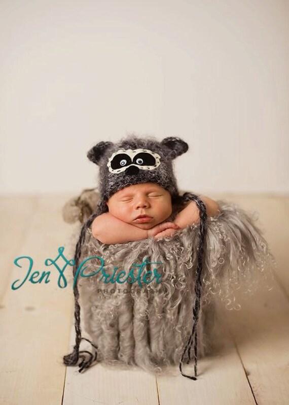 Baby Hat, Raccoon hat, Baby Photo Prop, Knit Newborn Hat, Newborn Knit Hat, Animal Hat, Hand Knit Baby hat