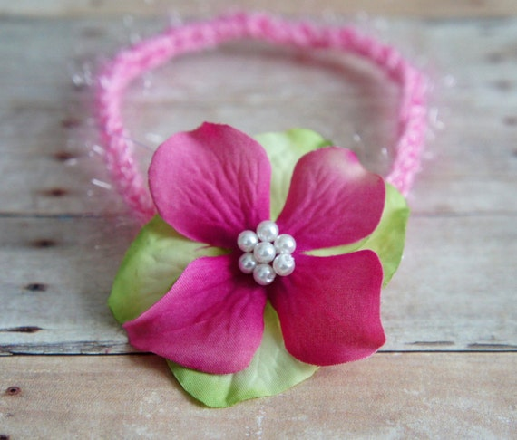 Flower Headband, Newborn Photo Prop, Baby Girl Flower Headband, Flower and Lace Tieback, Newborn Tieback/Headband, RTS