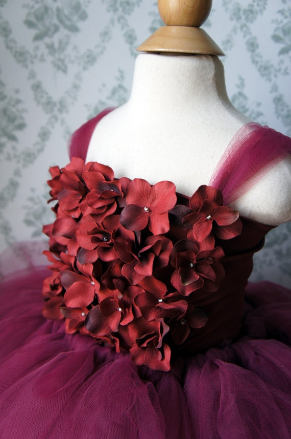 Flower Girl Dress, Flower Girl Tutu Dress, Toddler Dress,Photo Prop, in Shades of Red, Hydrangea Top