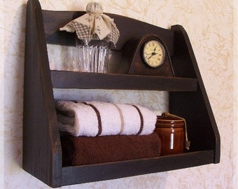 Step Back Bathroom Rack Primitive Storage Shelf / Lamp Black / Color Choice / Wall Mount