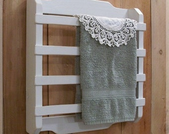 Shabby Chic Towel Rack 4 Slat Kitchen Bathroom Laundry room French Country White / Color Choice