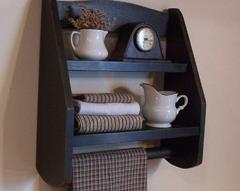 Step Back Towel Rack Wood Shelf Farmhouse Kitchen or Bathroom Storage / Spice Rack / Original Design / Lamp Black / Color Choice