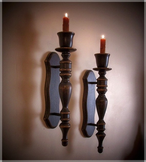Primitive Colonial Turned Wooden Wall Sconce Pair With By