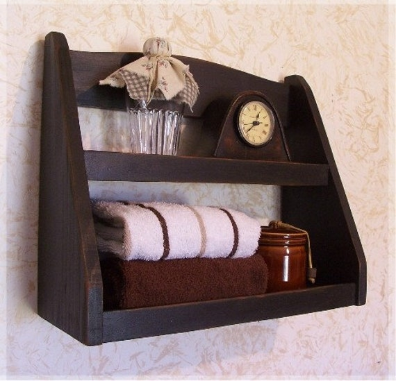 Bathroom Storage Shelf Primitive Step Back Rack Wall Mount