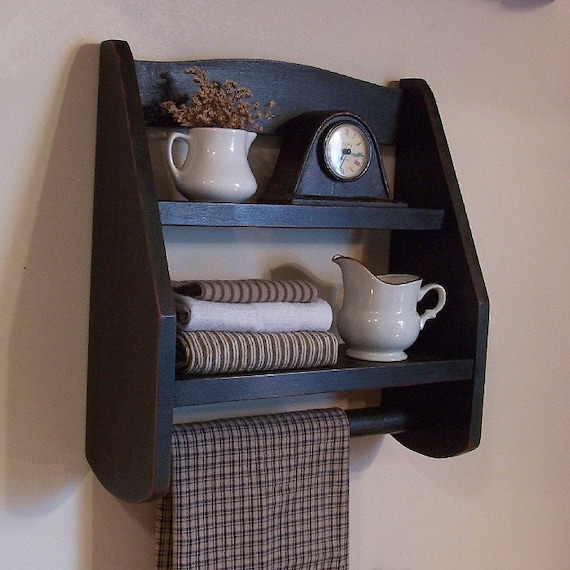 Step Back Towel Rack Wooden Shelf Farmhouse Kitchen Or By