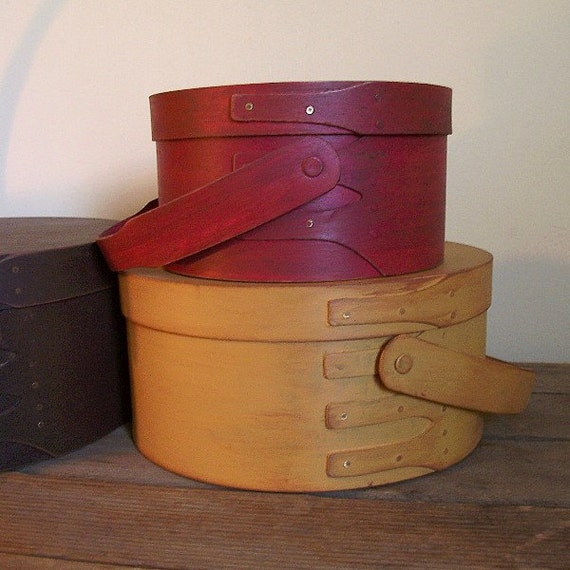 Primitive Pantry Storage Boxes / Swing handles Shaker Style Wood / Finger Bands  / Set of 3 / Fall Umber / Mustard / Barn Red
