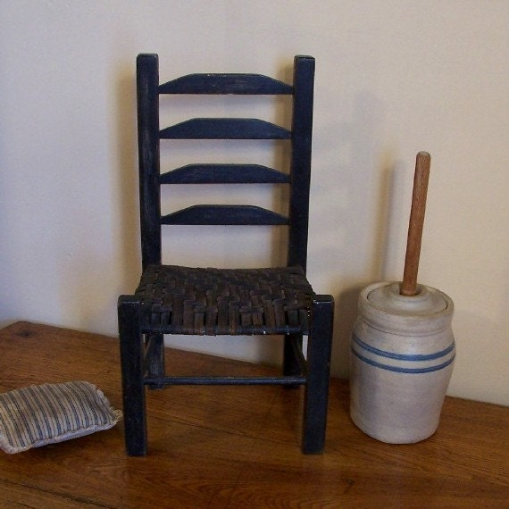 Primitive Ladder Back Wooden Chair / Lamp Black / Woven Seat / Pillow Included / Doll Chair