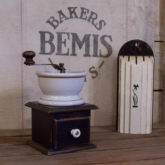 Vintage Wooden Coffee Grinder / Porcelain Top / Wood Knob / Lamp Black / Color Choice