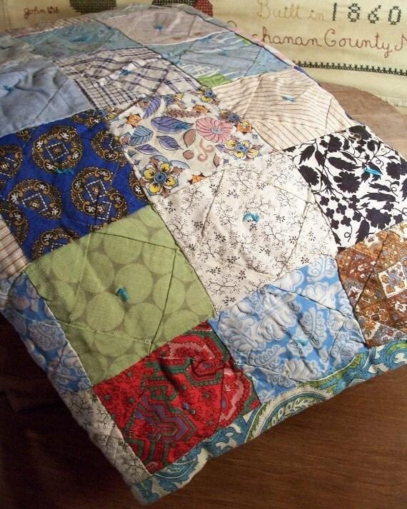 Vintage Lap Quilt / Antique Baby Quilt / Turquoise Blues / Cotton Fabric