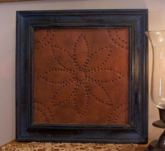 Primitive Punched Tin Framed Wall Art Rustic By Sawdusty