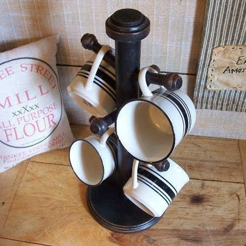 Primitive Coffee Cup Rack Mug Tree Stand Wooden Hand