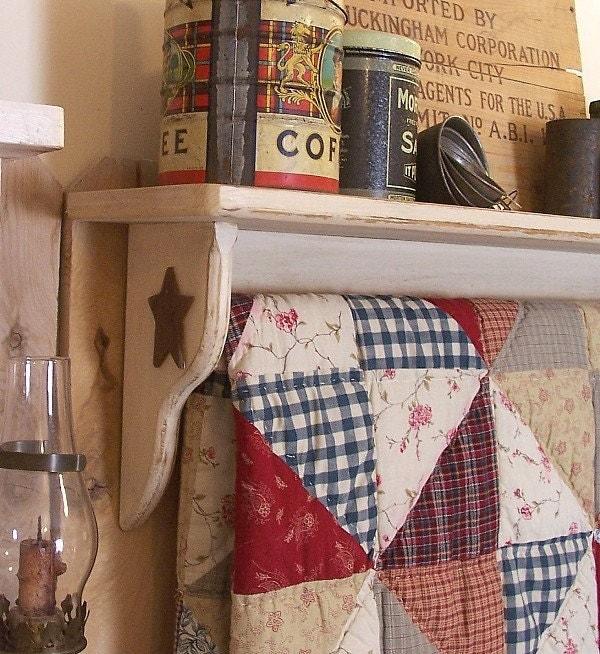 Primitive Quilt Shelf Rack Handmade Shabby Chic By Sawdusty
