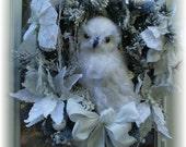 SALE XL Winter Guardian white snowy owl wreath