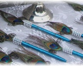 50 Peacock Feather Pen Favors with Bling in your choice of colors