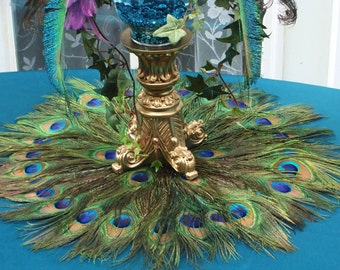 22 Peacock Feather Place Mat Or Centerpiece Decoration