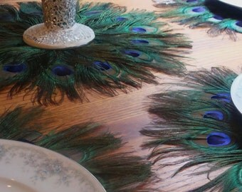 """Four 16"""" Peacock Feather Mats - As Featured on TLC's FOUR WEDDINGS"""