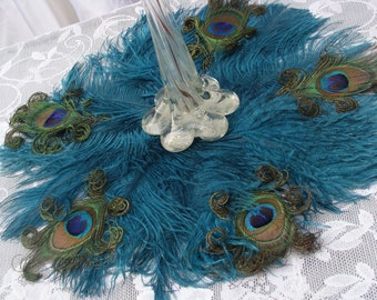 "Exquisite 16"" Ostrich and Peacock Feather mat in your choice of colors"