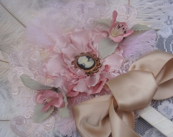 Marie Antoinette Shabby Chic ostrich feather fan bouquet