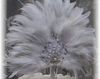 White Feathered Elegance Fan cake topper with lace applique and jewels - CUSTOM CREATED