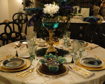 "Ten 16"" Peacock Feather Centerpiece Mats - Featured on TLC's Four Weddings - CUSTOM CREATED"
