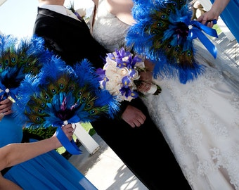 Vibrant Ostrich and Peacock Feather Fan Bouquet