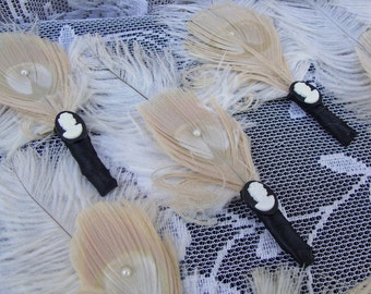 20s wedding Ostrich and Peacock Feather Boutonnieres in your choice of colors