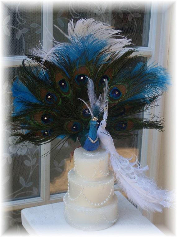 Peacock cake topper exquisite pair CUSTOM CREATED