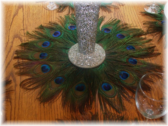 "RUSH ORDER - Eight 12"" Peacock Feather Mats for Rita  - 9-28-2012 - Deposit Listing"