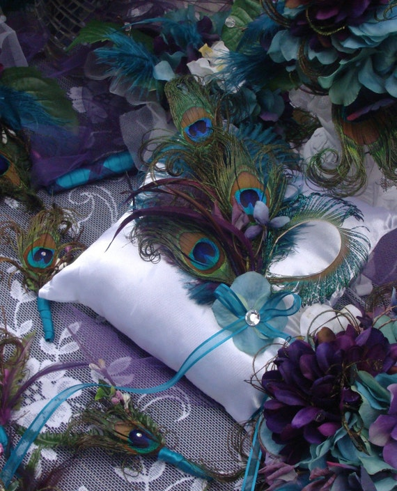 items similar to peacock wedding ring bearer pillow decoration in your choice of accent colors. Black Bedroom Furniture Sets. Home Design Ideas